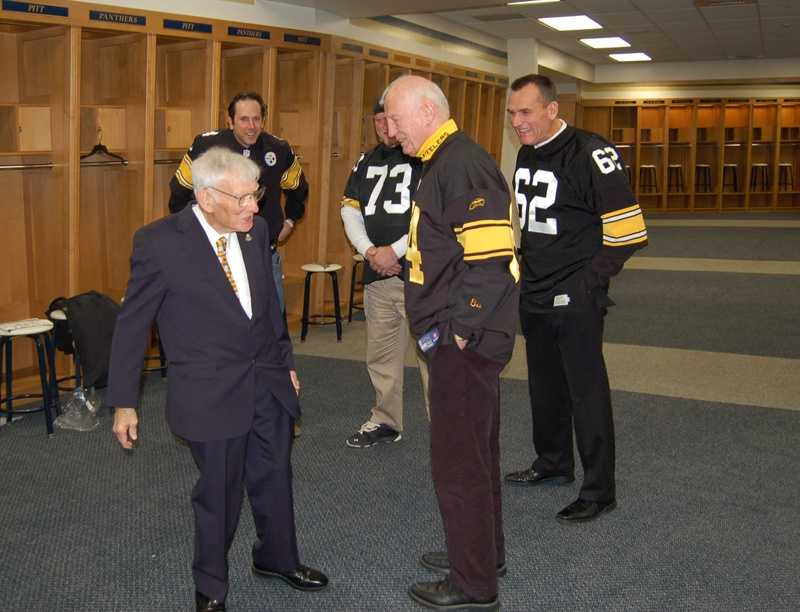 Team Owner, Art Rooney, with #73 Craig Wolfey and fellow Alumni