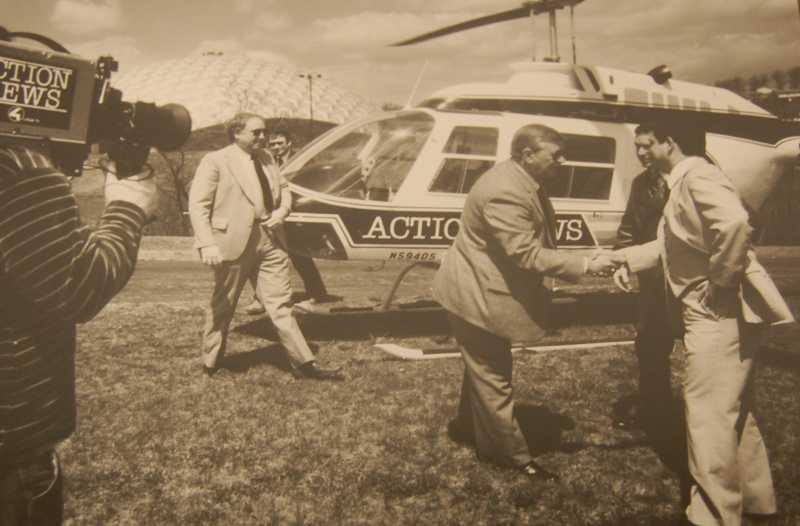Joe DeNardo school visits were kicked off each time by Joe flying in on the WTAE Action News helicopter: Sky 4 from 1985