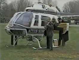 Joe DeNardo flying in for a school visit at Bellmar Junior High School in 1986