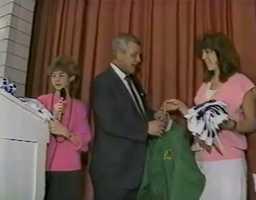 Joe DeNardo at a school visit for Bellmar Junior High School in 1986