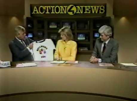Joe DeNardo tells Sally Wiggin and Don Cannon about his school visit in 1986.
