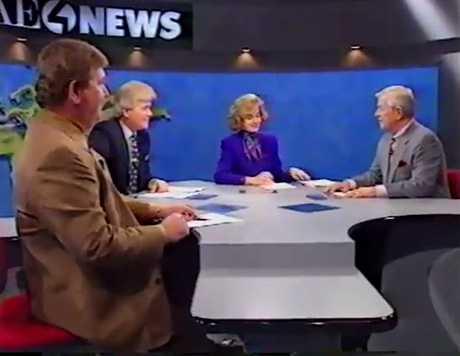 Bill Hillgrove, Sally Wiggin, and Joe DeNardo on set in 1990