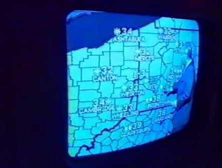 Joe DeNardo providing his daily DeNardo Weather forecast in 1990