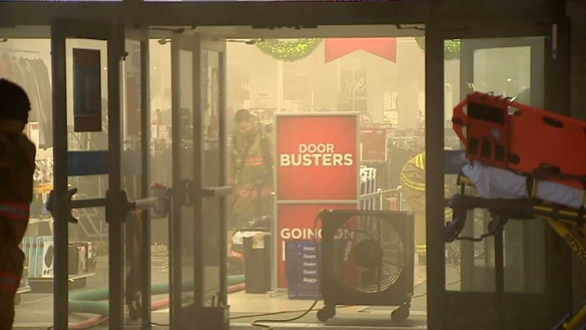 Smoke fills the Sears at the Century III Mall in West Mifflin, PA
