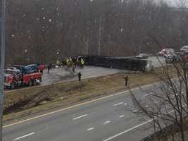Two people died in the crash which involved a tractor-trailer and two other vehicles on Interstate 70 eastbound near the junction of I-70 and I-79 in South Strabane Township in Washington County.