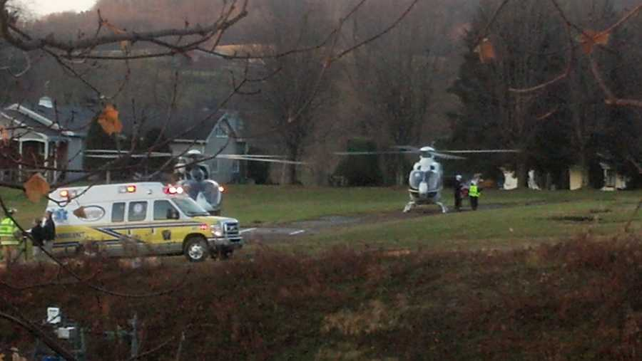 Two medical helicopters on scene of a three vehicle accident involving a Kiski Area School District school bus on Route 66 in Washington Township, Westmoreland County.