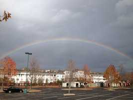 A rainbow stretched over the Waterfront during the Toys For Tots drive.