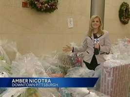 WTAE Channel 4 Action News reporter Amber Nicotra shows off the piles of presents.VIDEO: Watch her report