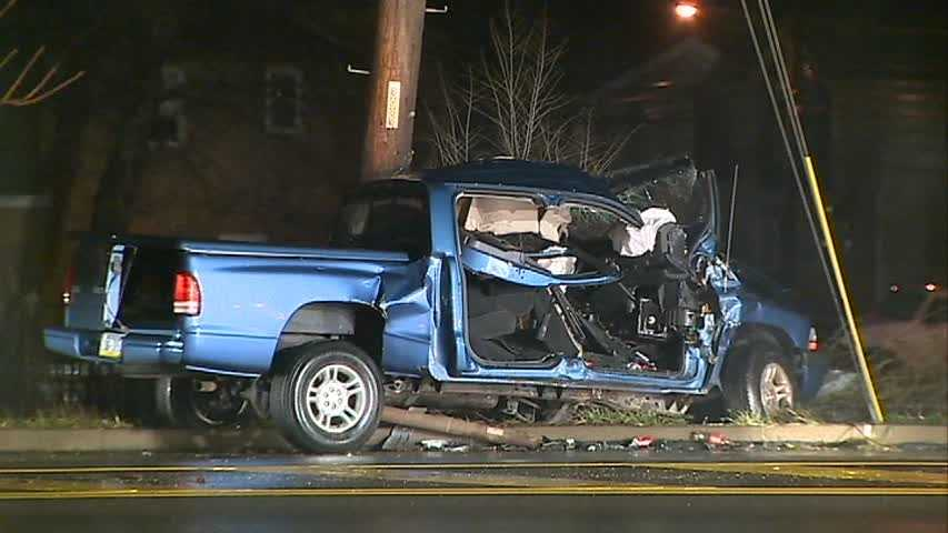 The driver of a pickup truck that crashed into a light pole in Collier Township was taken to a hospital.