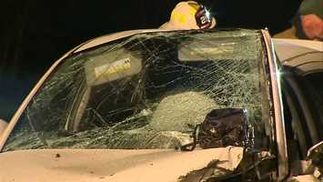 One car was headed east in the westbound lanes when it collided head-on with the other car.