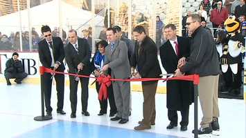 Mayor Luke Ravenstahl, Highmark Executive Vice President Dan Onorato and Penguins head coach Dan Bylsma were among those who participated in a ribbon-cutting ceremony.