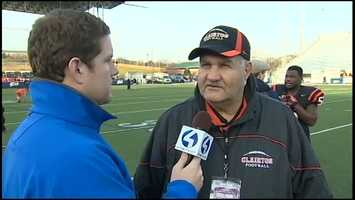 Action Sports' Justin Rose interviews Clairton head coach Tom Nola