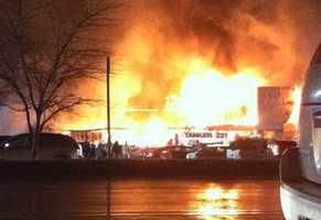 Fire destroyed several stores in the Heights Plaza shopping center in the Natrona Heights area of Harrison Township.
