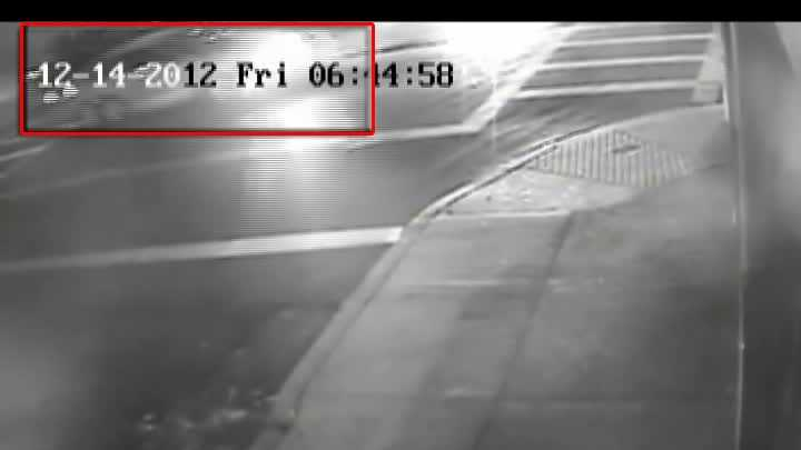 Corner of Bates and Atwood streets in Oakland at about 6:45 a.m. on Dec. 14, 2012. (Car is seen in upper left corner of surveillance image.)