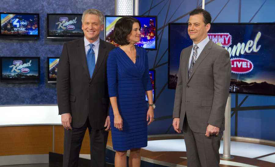Mike Clark, Wendy Bell, & Jimmy Kimmel sharing a few jokes on set.