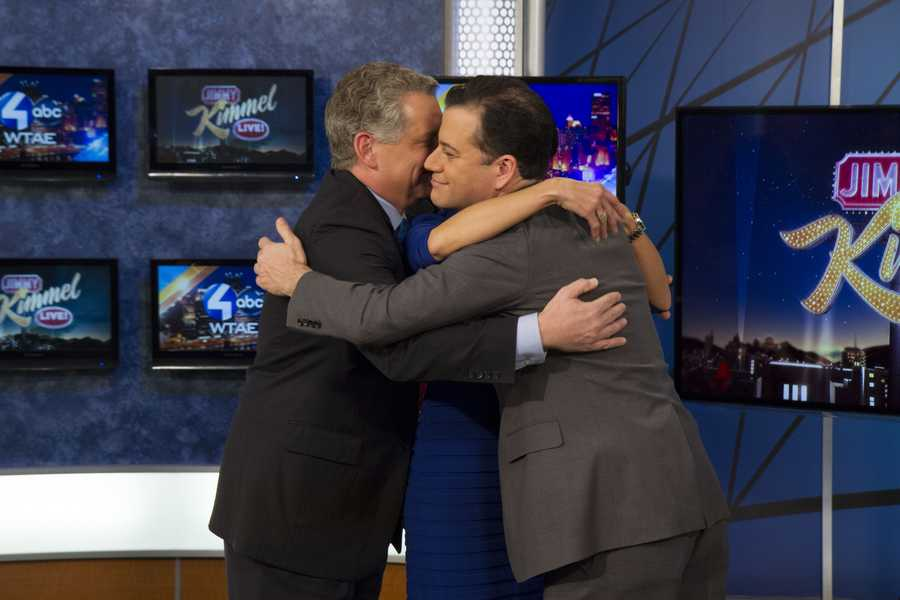 Jimmy Kimmel hugs it out with Action News' Wendy Bell and Mike Clark as they talk about the January 8th premiere of Jimmy Kimmel Live at 11:35pm!