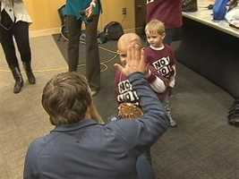 """Bryan gave the Shaler Township boy a big high-five backstage at the """"Super Smackdown"""" show at Consol Energy Center."""