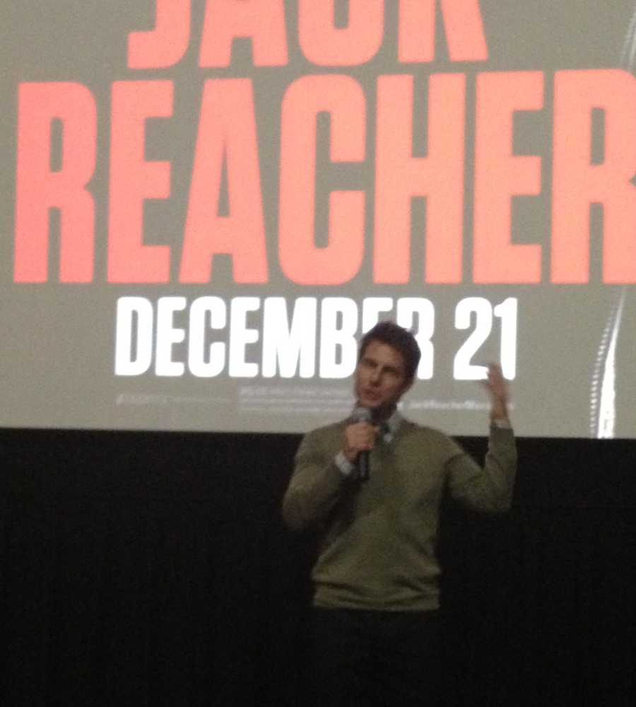"Tom Cruise is back for the rescheduled U.S. premiere of ""Jack Reacher,"" but it has a scaled-down feel out of respect for families and victims of the shooting at Sandy Hook Elementary School."