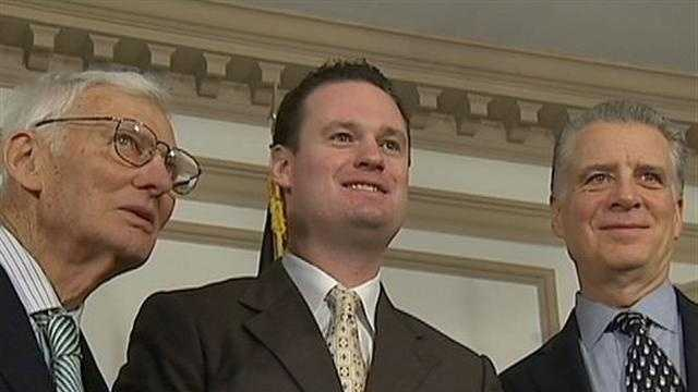 Steelers chairman emeritus Dan Rooney, Pittsburgh Mayor Luke Ravenstahl and Steelers president Art Rooney