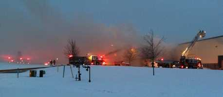 Multiple fire departments are fighting a large building fire at the EHC Industries in Mount Pleasant, PA (Westmoreland County)