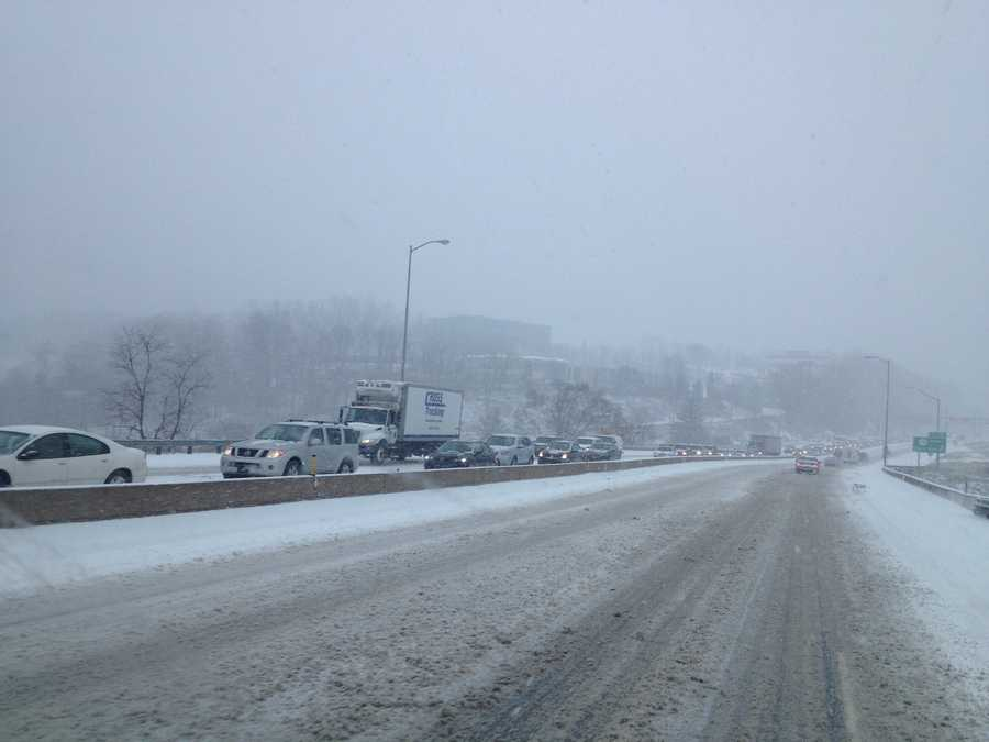 Traffic on Interstate 376/Parkway East backed up from Churchill to Penn Hills