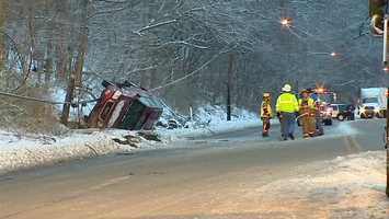 The driver lost control, hit a utility pole and overturned in Glen Osborne, Allegheny County.