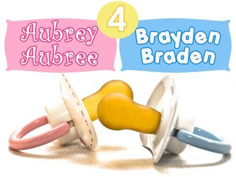Two names with two different spellings came in at No. 4: Aubrey/Aubree for girls and Brayden/Braden for boys.