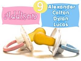 No. 9 for girls was Addison, while it was four-way tie for boys between Alexander, Colton, Dylan and Lucas.