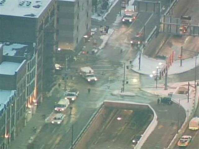 Sky 4 flew over the affected portion of Interstate 376, as well as Fort Pitt Boulevard, which was completely shut down.