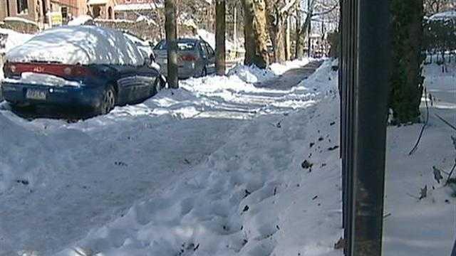 snow on Aspinwall sidewalk