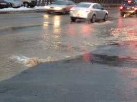 Water main break on Route 51 in Overbrook