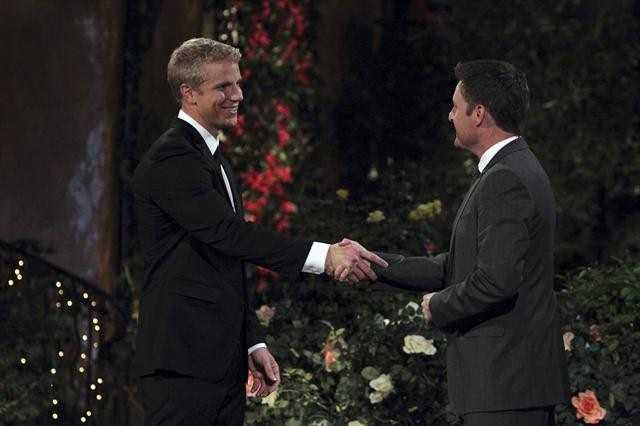 Sean is greeting by host, Chris Harrison, right before he meets the ladies