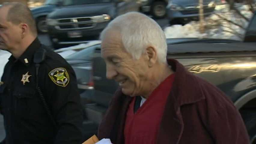 Jerry Sandusky arrives for court.