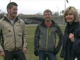 Jon Potter and Adam Schwartz with Channel 4 Action News' Sally Wiggin