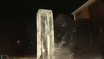 The artist, Rich Bubin, has previously been the captain of the U.S. Ice Carving team and is in the Guinness World Records book as the fastest ice carver on the planet.