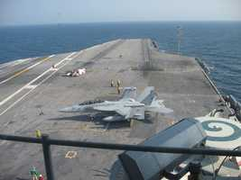 #9 - Mike landed and took off from the US Navy aircraft carrier, USS Eisenhower....