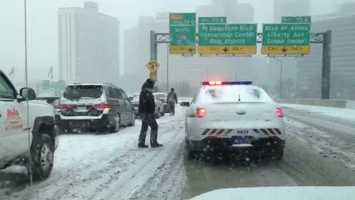 An accident scene on the inbound Fort Pitt Bridge ramp toward downtown Pittsburgh.
