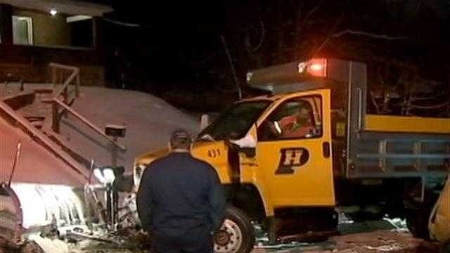 A salt truck hit a car on Friday.