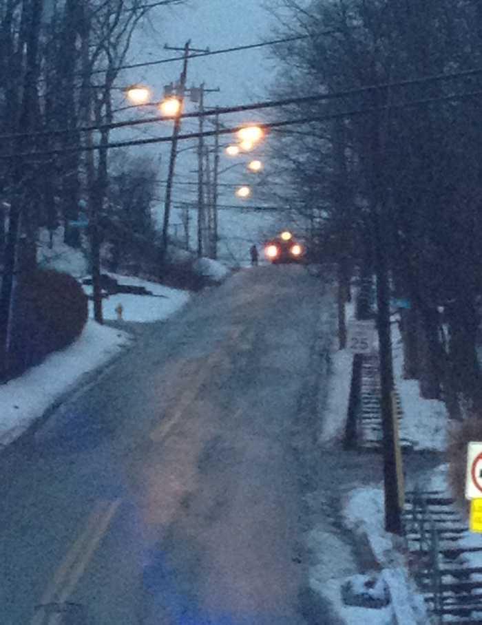 A car got stuck on a steep, hilly part of Potomac Avenue near Banksville Road.