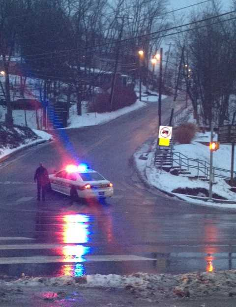 Pittsburgh police kept traffic off Potomac Avenue because of the slippery road conditions.