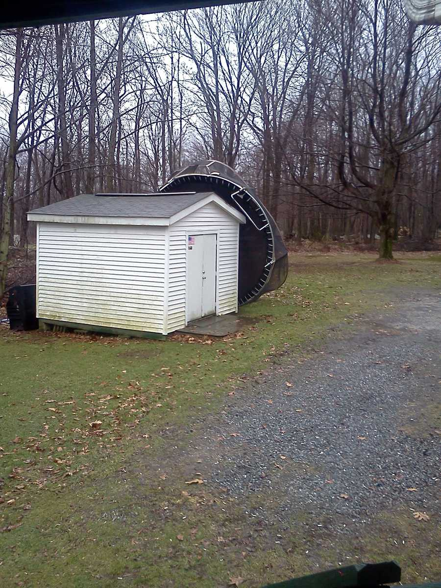 A trampoline is tossed in Armagh, Indiana County