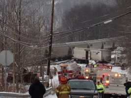A tractor-trailer and a train collided just before 8 a.m. in Avonmore.
