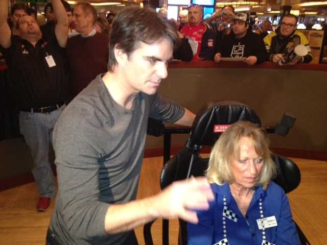 NASCAR superstar Jeff Gordon raced against a Rivers Casino employee in a driving simulator to jump start the casino's $25,000 Pedal to the Metal promotion.