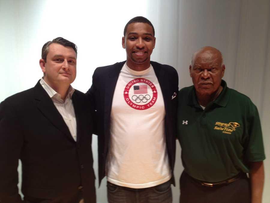 Pittsburgh Stingrays sponsor Edward Alexei, Olympic gold medalist Cullen Jones and Stingrays coach Hosea Holder