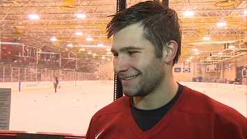 """""""It's definitely a great opportunity. The first three years, I came here to play club (hockey), and to have the opportunity to step up to the Division I level, there are some great teams with great competition,"""" said Saad. (Watch Guy Junker's interview with George Saad)"""
