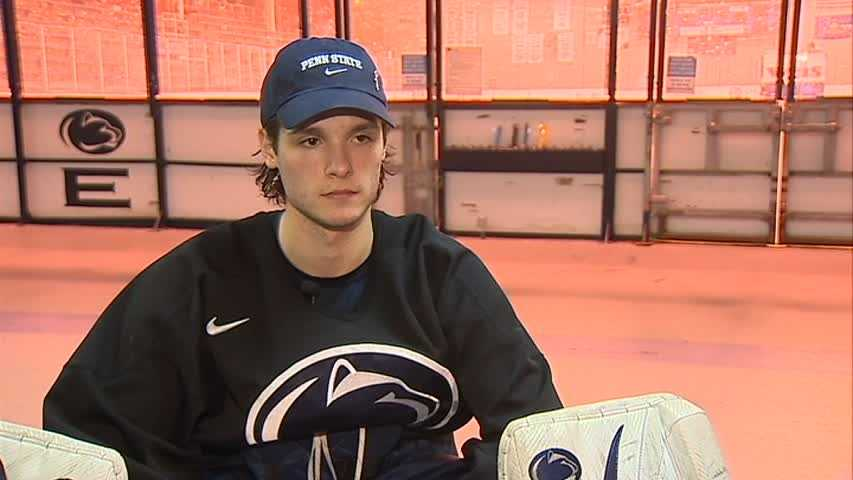"""""""The freshman class we have in here, we have some pretty top-notch recruits. We keep getting guys that are good people and good players. I mean, who knows? You could see us in the Frozen Four our junior and senior year. You never know,"""" said Skoff. (Watch Guy Junker's interview with Matthew Skoff)"""