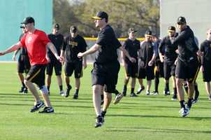 Pirates pitchers and catchers were required to report to camp in Bradenton on Monday.
