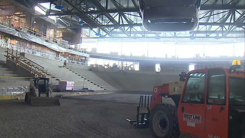 The arena, which broke ground in February 2012, will feature a main rink for the university's varsity hockey programs.