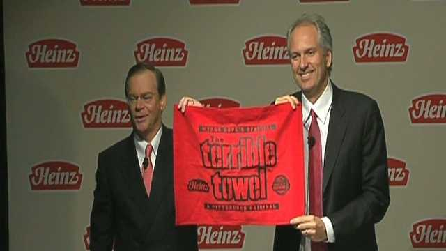 "Heinz executives displayed a ""ketchup-colored"" red Terrible Towel as a sign of the company's commitment to Pittsburgh when a deal was struck to sell the company in February 2013."