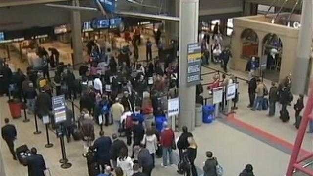 security line at Pittsburgh International Airport